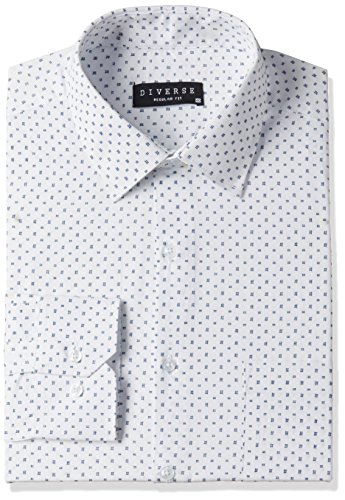 Diverse Men's Printed Regular Fit Cotton Formal Shirt (DVF01F2L01-234-42_White/Blue_42)