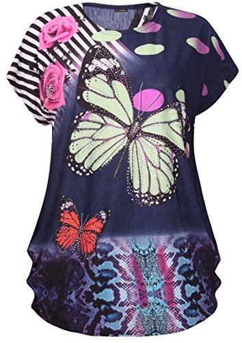 Damen Übergröße Schmetterling Gepunktet Pailletten Tier Druck Damen  Flügelärmel Ausgebeultes Top Marineblau