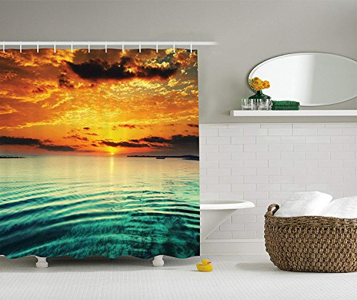 llection, Sunset at a Bay with a Small Boat at a Distance Tranquil Sea Surges Slightly Photography, Polyester Fabric Bathroom Shower Curtain, 72x72 inches Extra Long, Teal Orange ()