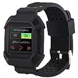 Huishang Montre Smartwatch Bracelet avec remplacement de la protective Frame Strap Band pour Fitness Sports Fitbit Blaze (Black, free size)