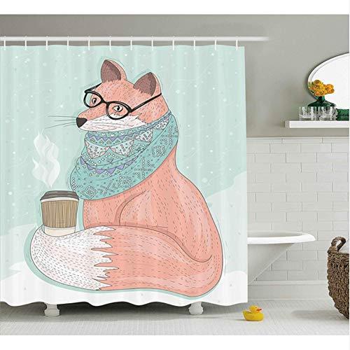 WIXIJAWR Tierdekor Duschvorhang Cute Hipster Fox Mit Brille Und Schal Kaffee Hippie Abbildung Stoff Badezimmer Dekor, 150X180Cm