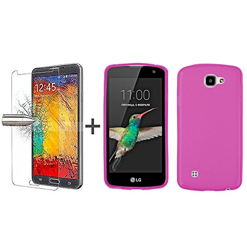 tbocr-pack-pink-tpu-silicone-gel-case-tempered-glass-screen-protector-for-lg-k4-k4-4g-k4-lte-soft-je