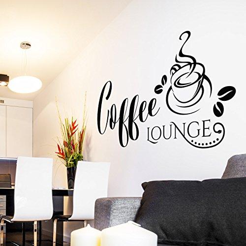 Wandtattoo Coffee Lounge | Kaffee Wandaufkleber Wandsticker Deko Idee Küche  Bild Schwarz 070 117 X 60 Cm