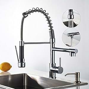 auralum mitigeur vier rabattable avec douchette robinet cascade deux sorties d 39 eau pour. Black Bedroom Furniture Sets. Home Design Ideas