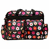 Rachna's Water Repellent Baby Diaper / Nappy Changing Floral Print Multi-Purpose Mother Shoulder Organizer Nursery Travel Messenger Bag - 2055 - Black