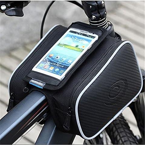 Showkoo Bicicletta doppie anteriori sacchetti, bicicletta salita in montagna Borsa di stoccaggio con il caso dello schermo di tocco di PVC trasparente Phone 5.5 pollici