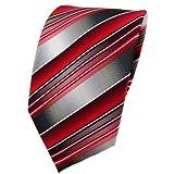 TigerTie Krawatte rot verkehrsrot anthrazit silber grau gestreift - Tie Binder