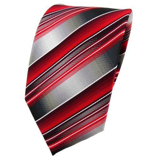 TigerTie Krawatte rot verkehrsrot anthrazit silber grau gestreift - Tie Binder Tie Krawatte Krawatten