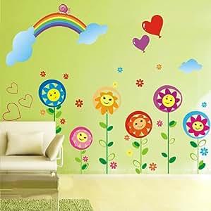 ufengke cartoon smiley sonnenblumen regenbogen wandsticker kinderzimmer babyzimmer. Black Bedroom Furniture Sets. Home Design Ideas