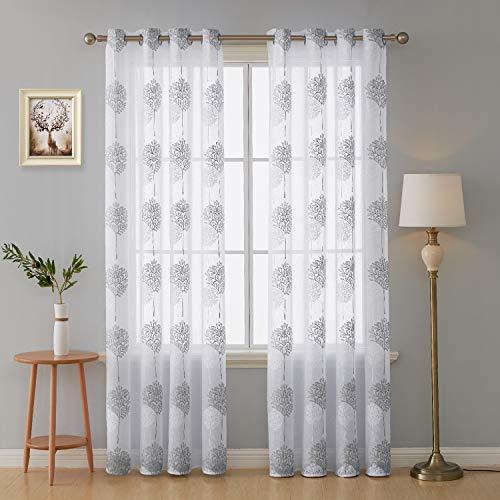 Deconovo tende trasparenti voile ricamate tende a pannello con occhielli per soggiorno bianco 140x229 cm due pannelli