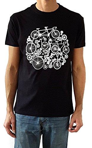 Camiseta de hombre Bicicletas - Color Negro - Talla M - Regalo para hombre - Cumpleanos o San Valentin