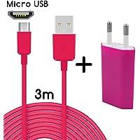 Original THESMARTGUARD 2in1-Set mit Huawei P8 Lite Netzteil Ladegerät und Huawei P8 Lite Ladekabel (3 Meter / 3m) / Datenkabel / Kabel in pink - NEU mit überarbeiteter Ladegeschwindigkeit!