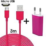TheSmartGuard Original 2in1-Set mit HTC One M8 Netzteil Ladegerät und HTC One M8 Ladekabel (3 Meter/3m)/Datenkabel/Kabel in Pink - Neu mit überarbeiteter Ladegeschwindigkeit!