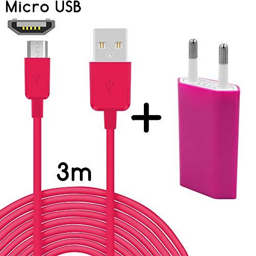 thesmartguard Lot de 2en 1avec Wiko Lenny Bloc d'alimentation chargeur câble de charge et Wiko Lenny (3mètres/3m)/Câble de données/câble haute vitesse de chargement en rose.