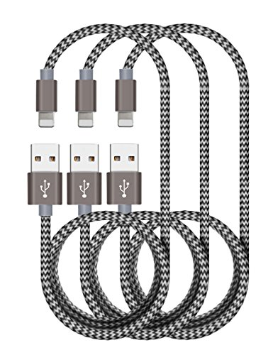 Zeuste Nylon Kabel 1.5m*3 Ladekabel für iPhone Verbindungskabel Lightning haltbar Datenkabel für Apple iPhone X/8/8 Plus/ 7/6 Plus/7/6 /5/5S/6s iPad 4 iPad Mini/Air Arbeitet mit neuesten iOS-Update (GRAU)