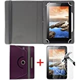 """Hello Zone Exclusive 360° Rotating 7"""" Inch Flip Case Cover + Free Tempered Glass for Amazon Fire HD 7 -Purple"""