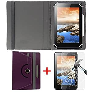 """Hello Zone Exclusive 360° Rotating 7"""" Inch Flip Case Cover + Free Tempered Glass for BSNL Penta IS701C -Purple"""