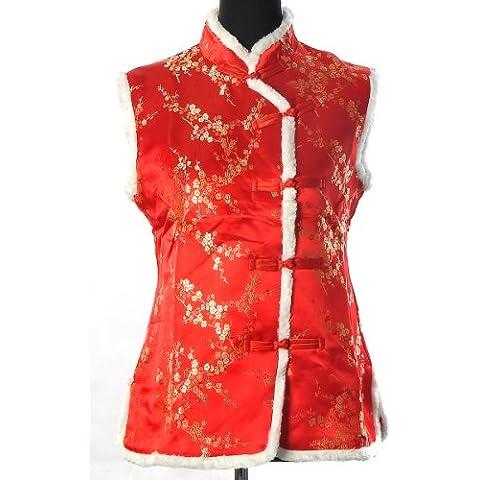 Shanghai Tone® Estilo Asiático Chino Vintage Abrigo hasta la cintura Elegante Satin con Cuello Alto y Decorado con Piel Sintética diseño de Flores del Ciruelo, Blanco. Tallas disponibles: 36-46
