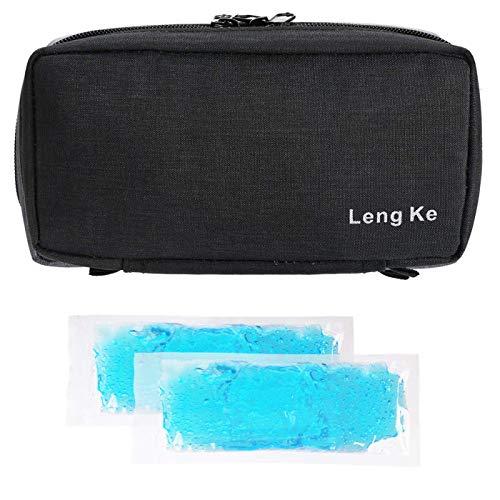 Tragbare Insulin-Reisetasche,ONEGenug Medizinische Versorgung Schutzfall Organizer medizinische Tasche für den Diabetiker (Schwarz+2 Kühlakkus)