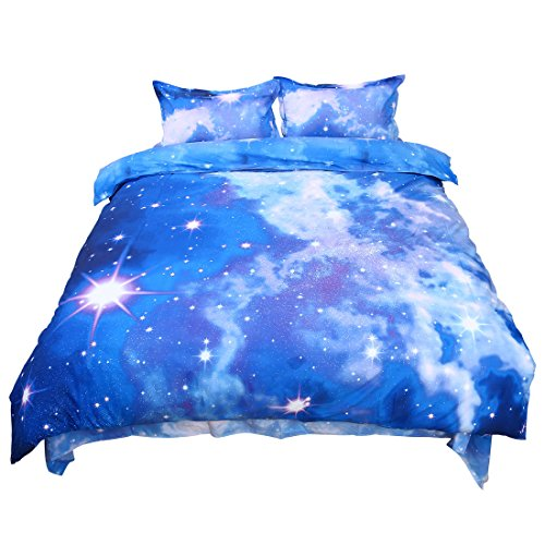 sourcingmap® 4stk. Sparkly Sterne Galaxy Himmel Kosmos Nachtmuster König Größe Bettwäsche Duvet Set (Baumwolle König Bettwäsche-sets)