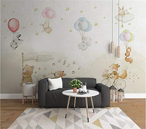 Apoart 3D Wandtapete Fototapete Nordic Einfache Karikatur Niedliche Tiere Luftballons Haus Papel De Parede250Cmx175Cm