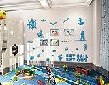 Alicemall 3D Wandtattoo Acryl Blau Wandaufkleber Wand Sticker mit Bilderrahmen für Kinderzimmer Klassenzimmer Sofa Hintergrund - Meer