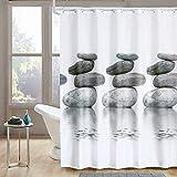 Norcho 180x180CM Cortina de baño de Tela Impermeable Resistente al Moho con Imagen de Gris Guijarro Cortina de Ducha de Fodo Blanco con 12 Anillos (A)
