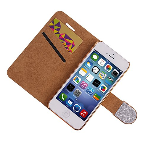 iPhone 6s plus Handyhülle,iPhone 6 plus Case,iPhone 6S plus Hülle - Felfy Sleek Simple Gold Luxury Luxus Bling Sparkle Flip PU Leder Wallet Case Tasche Schutz hülle Etui für Apple iPhone 6 pplus 5.5 Z Silber