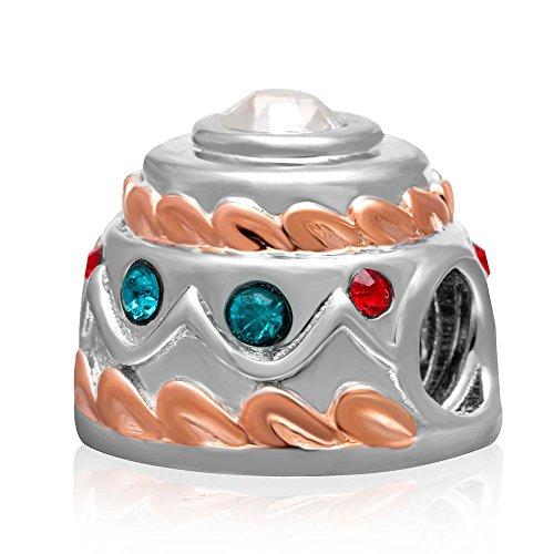 Happy Birthday Kuchen Charme Österreich Kristall 925Sterling Silber Urlaub Perlen passend für europäische Armband Geschenke bunt (Happy Birthday Charme Pandora)