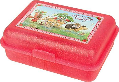 Brotdose Erdbeerinchen mit Karren (rot): Erdbeerinchen Erdbeerfee. Farbig bedruckt