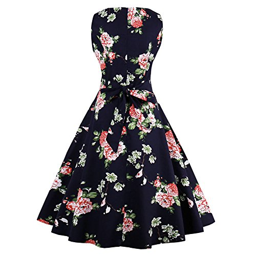 ZAFUL Women's Elegant Plus Size Summer Dresses 1950s Vintage Floral Print Sleeveless Rockabilly Cocktail Party Swing Dress-Navy Blue-2XL