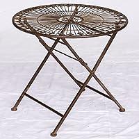 Decobay.eu Kinder Tisch Gartentisch Klapptisch Braun Antik Rund Einzeln Für  Balkon Terrasse