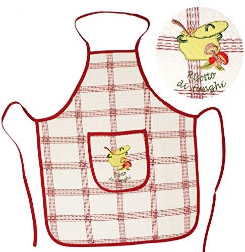 """Schürze - """" Risotto """" - mit großer Tasche & aufwendiger Stickerei - für Erwachsene & Jugendliche - 100 % Baumwolle - Kochschürze & Grillschürze - Küchenschürze - Damen / Herren - Männer & Frauen Damenschürze - Backschürze - Bastelschürze - Italien / italienisch - mediterran"""