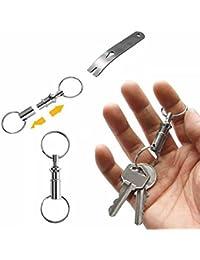 GOOTRADES 5 Pcs-Set Detachable Pull Apart Key Rings Keychains with 1 Pocket Crowbar