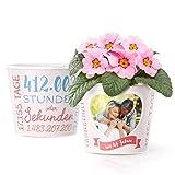 47. Hochzeitstag Geschenk – Blumentopf (ø16cm) | Geschenkidee zur Kaschmirhochzeit für Mann oder Frau mit Herz Bilderrahmen für 1 Foto (10x15cm) | Glücklich Verheiratet - 47 Jahre