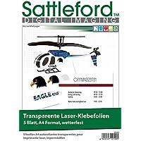 Sattleford Klebefolie zum Bedrucken: 5 Klebefolien A4 für Laserdrucker transparent (Bedruckbare Klebefolien)