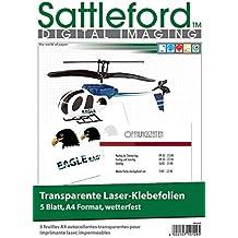 Sattleford Klebefolien für Kopierer: 5 Klebefolien A4 für Laserdrucker transparent (Reissfeste Klebefolien)