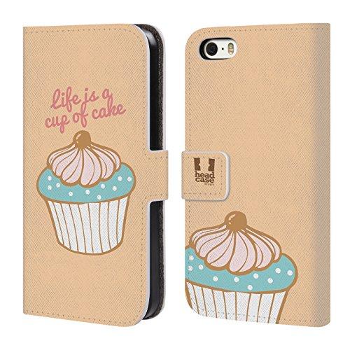 Head Case Designs Pile Bonheur De Cupcakes Étui Coque De Livre En Cuir Pour Apple iPhone 5c Vie Est Une Tasse De Cupcakes