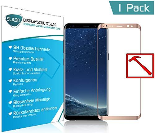Slabo Premium Panzerglasfolie für Samsung Galaxy S8 Full Cover Echtglas Displayschutzfolie Schutzfolie Folie Tempered Glass KLAR - 9H Hartglas - Rahmen Pink Gold