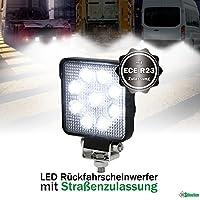 LED Rückfahrscheinwerfer 15 Watt 1250 Lumen, OSRAM Chips, Arbeitsscheinwerfer mit ECE R23 Zulassung, 60°, Für 12V 24V, z.B. LKW Traktor Offroad