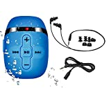 【2018 VERSION】 HIFI sound waterproof MP3 player swimming running,underwater Blue