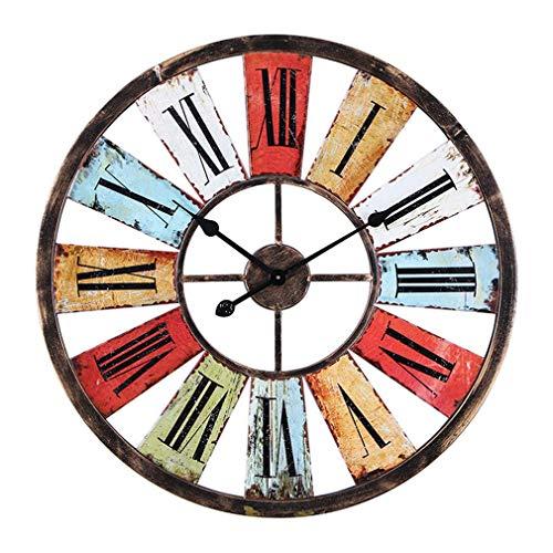 Jxcock 19.7'' SchöNe Bunte GroßE Vintage Eisen Wanduhr Retro Uhr,Wohnzimmer Bar Cafe PersöNlichkeit Loft Industrial Wind GroßE Home Decorative - Antique Wall Watch -