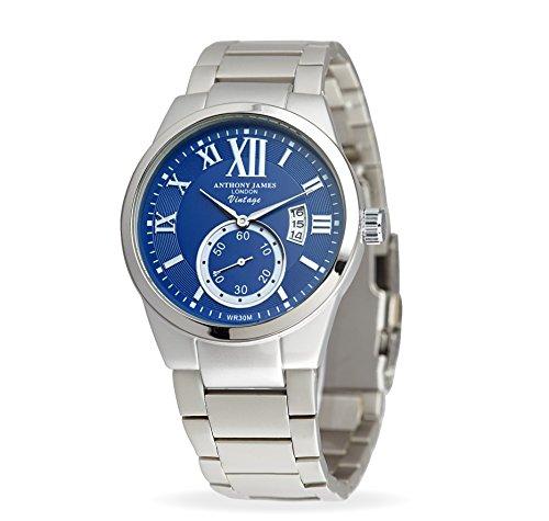 New Anthony James vintage blu e argento da uomo designer orologio da polso al quarzo (Cinghia Web Vita)