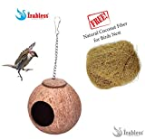 #6: Coconut Shell Bird nest House (Small) with Free Natural Coconut Fiber for nest