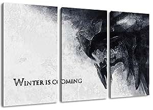 Winter Is Coming, Game of Thrones Motiv, 3-teilig auf Leinwand (Gesamtformat: 120x80 cm), Hochwertiger Kunstdruck als Wandbild. Billiger als ein Ölbild! ACHTUNG KEIN Poster oder Plakat!
