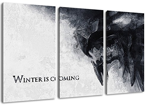 Winter Is Coming, Game of Thrones Motiv, 3-teilig auf Leinwand (Gesamtformat: 120x80 cm), Hochwertiger Kunstdruck als Wandbild. Billiger als ein Ölbild! ACHTUNG KEIN Poster oder Plakat! (Home Coming Leinwand)