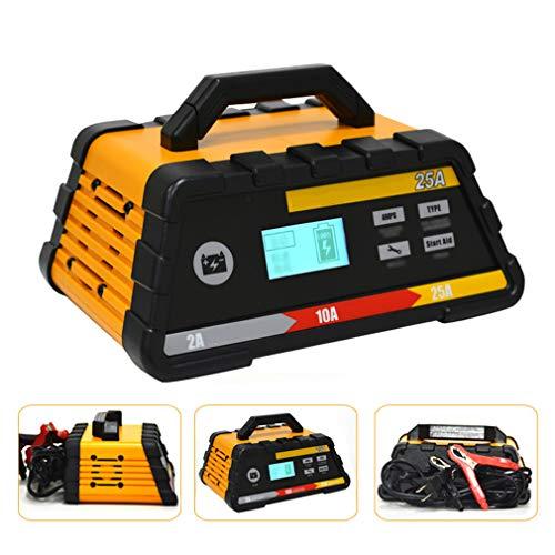 HWUKONG Smart Battery Charger, KFZ-Stromrichter, Maintainer 10.02 / 25A 12V, Vollautomatische mit Motorstart für Auto-Motorrad-Rasenmäher Spielzeug-Autos