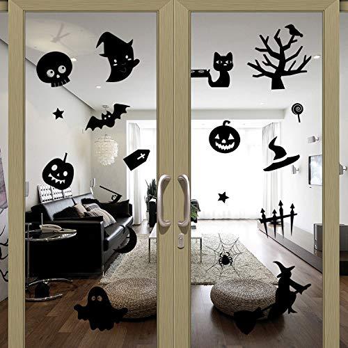 JXCDNB Halloween kleine Teufel Baum Hut kreative Wanddekoration Glas Paste 67 * 57cm