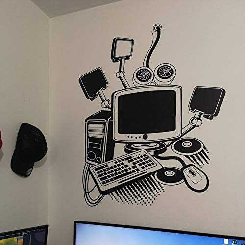 Matériel informatique joueur de jeu sticker mural salon chambre enfant chambre autocollant, noir 82x102cm