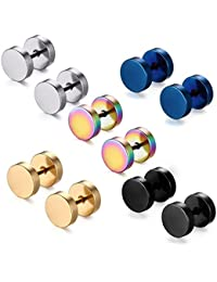5 Pairs or 8 mm Tian stainless steel studs, tunnel earrings for women, rake plug earrings for men, pierced earrings in black stainless steel, men's and women's stud earrings set, ear piercing plugs, tunnels in punk style 5 paar